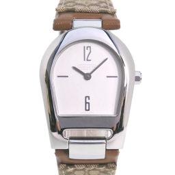 COACH コーチ 541949 ステンレススチール×レザー カーキ クオーツ レディース シルバー文字盤 腕時計【中古】Aランク