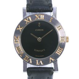 CORUM Corum Romulus 24.101.21 Stainless Steel × Leather Gold Quartz Women's Black Dial Watch [Pre]