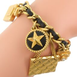 CHANEL Icon Charm Vintage Gold Plated x Leather Gold 93A Engraved Women's Bracelet [Used] A-Rank
