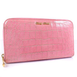MIUMIU Miu Miu Round Fastener Leather Pink Ladies Long Purse [Used]