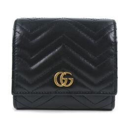 GUCCI グッチ GGマーモント コンパクト 598629 カーフ 黒 ユニセックス 二つ折り財布【中古】