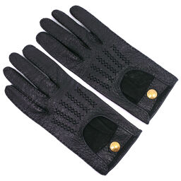 HERMES Hermes Driving Gloves Leather Black Ladies Gloves [Used] A-Rank