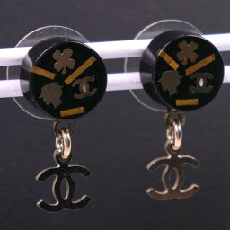 CHANEL Chanel Coco Mark / Coco Chanel Gold Plated Gold 06A Engraved Women's Earrings [Used] A-Rank