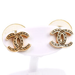 CHANEL Chanel Coco Mark Gold Plated Women's Earrings [Used]