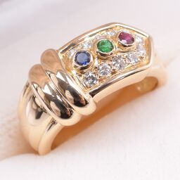 Christian Dior Christian Dior Diamond Sapphire / Ruby / Emerald K18 Yellow Gold 11.5 No. Women's Rings / Rings [pre]