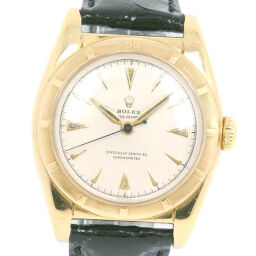 ROLEX Rolex Oyster Perpetual Bubbleback 6011 K18 Yellow Gold x Leather Automatic Boys Silver Dial Watch [Used] B-Rank