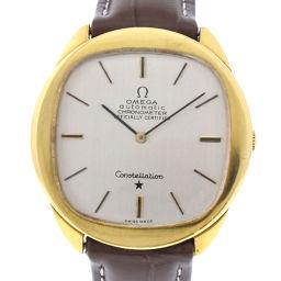 OMEGA オメガ コンステレーション K18イエローゴールド×レザー ゴールド 手巻き メンズ シルバー文字盤 腕時計【中古】