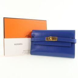 HERMES Hermes Kelly Wallet Medium Calf Blue C Engraved Unisex Tri-Fold Wallet [Used] S Rank