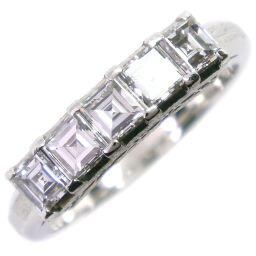 One letter Pt900 Platinum x Diamond No. 11 1.00 Engraved Ladies Ring / Ring [Used] A + Rank