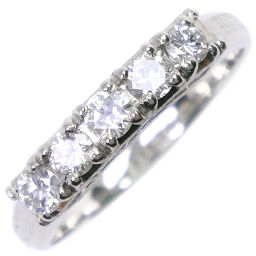 One letter diamond x pm platinum 12.5 0.47 engraved ladies' ring / ring [used] A + rank