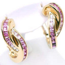 K18 Yellow Gold x Sapphire Pink S2.97 Engraved Women's Earrings [Used] A Rank