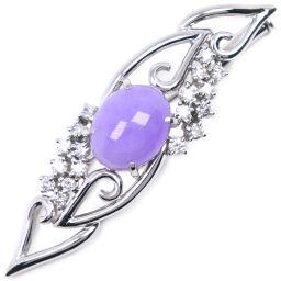 Pt900 Platinum x Lavender Jade x Diamond J6.19 / D0.63 Engraved Ladies Brooch [Used] A + Rank