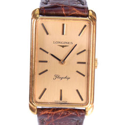 LONGINES Longines K18 Yellow Gold × Leather Gold Manual winding Unisex Gold Dial Watch [Used]