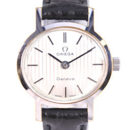 OMEGA オメガ cal.625 ステンレススチール×レザー ブラック 手巻き レディース シルバー文字盤 腕時計【中古】