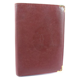 CARTIER カルティエ 札入れ カーフ ボルドー レディース 二つ折り財布【中古】