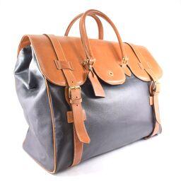 ESCADA travel bag PVC × leather brown unisex Boston bag [used]
