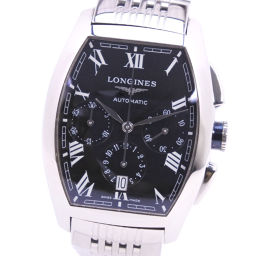 LONGINES Longines Evidenza Chronograph L 2.643.4 Stainless Steel Silver Automatic Men's Black Dial Watch [Pre] A rank
