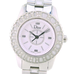 Christian Dior Christian Dior Crystal Diamond Bezel CD112113 Stainless Steel White Quartz Ladies White Dial Watch [Used] A-Rank