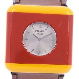 PRADA Prada Square Case CUOIO PLEX WRIS 1AR567 Stainless Steel x Leather Red Quartz Unisex Silver Dial Watch [Used] B-Rank