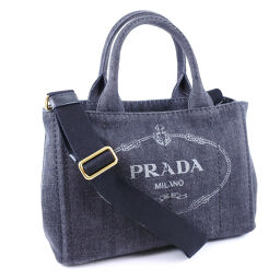 PRADA Prada Mini Kanapa 2WAY Shoulder 1BG439 Denim NERO Black Ladies Handbag [Used] A rank