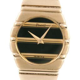 PIAGET Piaget Polo K18 Yellow Gold Quartz Analog Display Ladies Black Dial Watch [Used] A-Rank