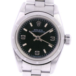 ROLEX Rolex Oyster Perpetual U No. 67230 Stainless Steel Silver Self-winding Analog Display Ladies Black Dial Watch [Used] A-Rank