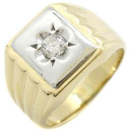 印台 K18イエローゴールド×Pt900プラチナ×ダイヤモンド 17.5号 D0.27刻印 メンズ リング・指輪【中古】A-ランク