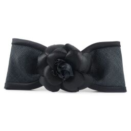 CHANEL Ribbon Motif Camellia Satin Black Ladies Valletta [Used] A + Rank