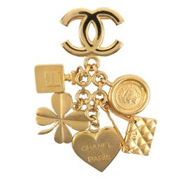 CHANEL Heart / Clover / Matrasse Icon Vintage GP 95A Engraved Ladies Brooch [Used] A-Rank