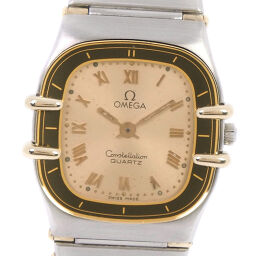OMEGA Omega Constellation Mini Stainless Steel Quartz Ladies Gold Dial Wrist Watch [Used]