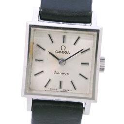 OMEGA オメガ ステンレススチール×レザー 手巻き レディース シルバー文字盤 腕時計【中古】