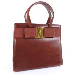 Salvatore Ferragamo Salvatore Ferragamo Vera 2WAY Shoulder Calf Brown Ladies Handbag [Used]
