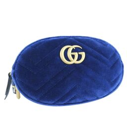 GUCCI Gucci GG Marmont 2WAY pouch 476434 suede blue ladies waist bag [used] A + rank