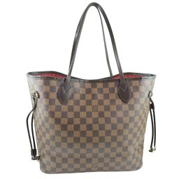LOUIS VUITTON Neverfull MM N51105 Damier Canvas Brown CA2141 Engraved Ladies Tote Bag [Used] A-Rank
