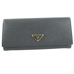 PRADA Prada x Saffiano NERO Black Ladies Wallet [Used] A rank