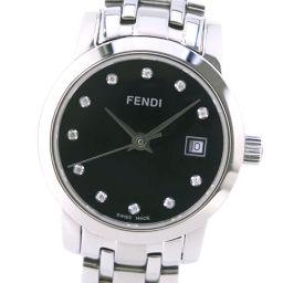 FENDI フェンディ オロロジ 11Pダイヤ 2100L ステンレススチール クオーツ レディース 黒文字盤 腕時計【中古】Aランク