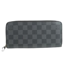 LOUIS VUITTON Louis Vuitton Zippy Wallet Vertical N63095 Damier Graffiti Canvas Black CA2155 Engraved Men's Wallet [Used] A Rank