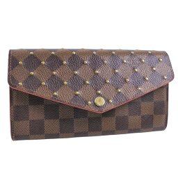 LOUIS VUITTON Louis Vuitton Portofeuil Sarah Studs N60123 Damier Canvas Brown MI3168 Engraved Women's Wallet [Used]