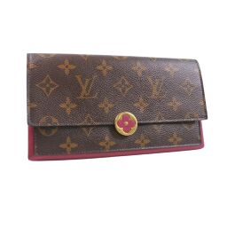 LOUIS VUITTON Louis Vuitton Portofeuil Flor M64585 Monogram Canvas Fuchsia Brown CA2178 Engraved Women's Wallet [Used] A rank