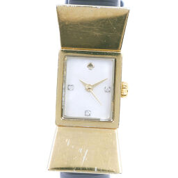 Kate Spade Stainless Steel x Leather Gold Quartz Ladies White Shell Dial Watch [Used]