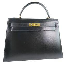HERMES Hermes Kelly 32 outer stitch 2WAY shoulder box calf black ladies handbag [used]