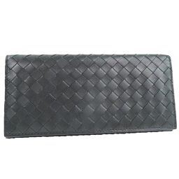 BOTTEGA VENETA wallet intrecciato calf black men's long wallet [used] A rank