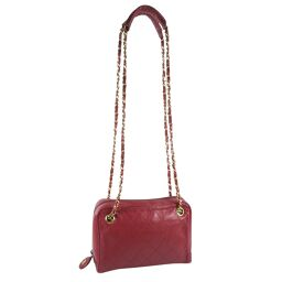 CHANEL Chain Shoulder Lambskin Red Ladies Tote Bag [Used]