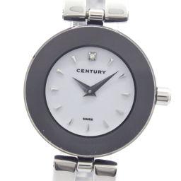 CENTURY センチュリー タイムジェム 1Pダイヤ ステンレススチール クオーツ レディース 白文字盤 腕時計【中古】