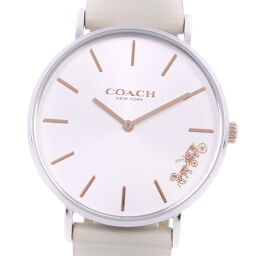 COACH Coach CA.120.7.14.1594 Stainless Steel x Leather Quartz Analog Display Ladies Silver Dial Watch [Used] A Rank