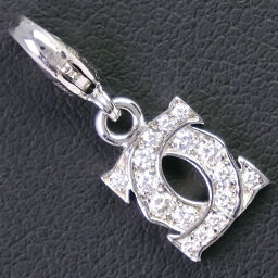 CARTIER Cartier 2C Baby Charm K18 White Gold x Diamond Ladies Pendant Top [Used] A Rank