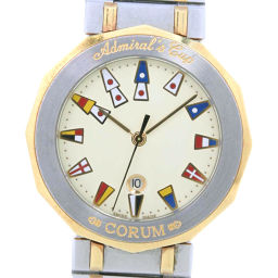 CORUM Admiral's Cup 99 810 21 V552 Stainless Steel Gold Quartz Men's Cream Dial Watch [Used]