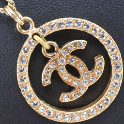 CHANEL Coco Mark Circle GP x Rhinestone 06A Engraved Ladies Necklace [Used] A-Rank
