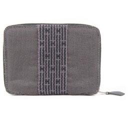 HERMES Hermes Aleline Round Zipper Canvas Gray Unisex Bi-Fold Wallet [Used]