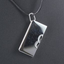 HERMES Hermes 1 + 1 = 1 Leather Silver Ladies Necklace [Used]